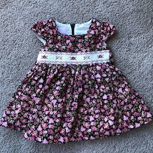 Floral cap sleeve dress and matching bloomers